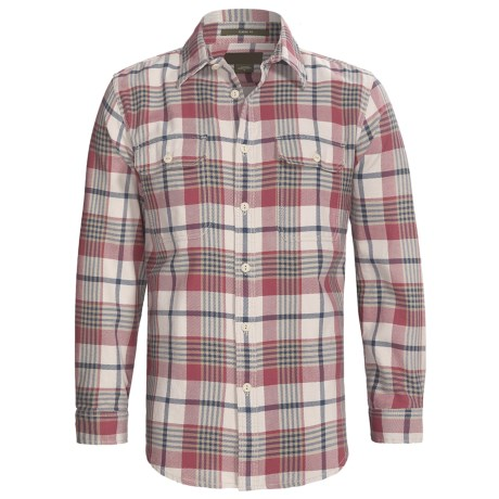 Cotton Flannel Plaid Shirt - Long Sleeve (For Men) in Red