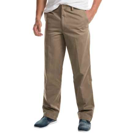 Cotton Flat-Front Elastic Waist Pants (For Men) in Beige - 2nds