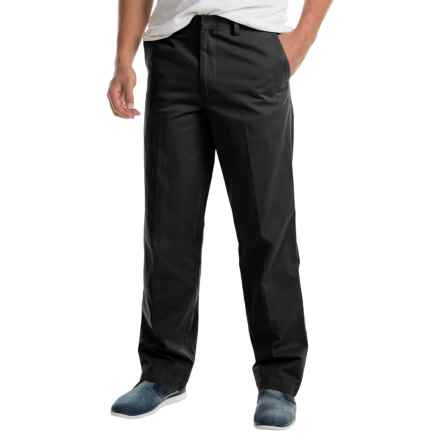Cotton Flat-Front Elastic Waist Pants (For Men) in Black - 2nds