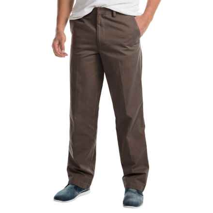Cotton Flat-Front Elastic Waist Pants (For Men) in Burnt Umber - 2nds