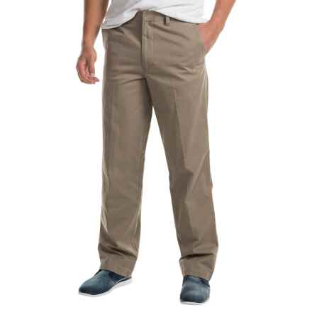 Cotton Flat-Front Elastic Waist Pants (For Men) in Tan - 2nds