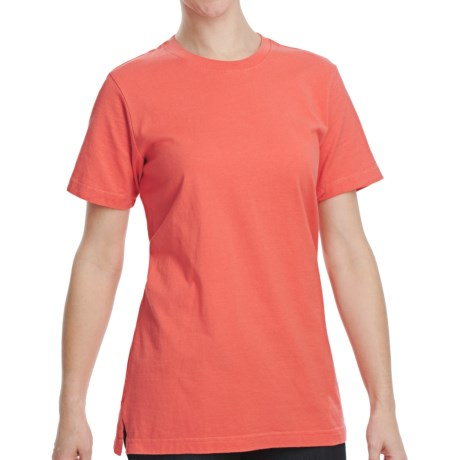 Cotton Jersey Knit T-Shirt - Crew Neck, Short Sleeve (For Women) in Coral