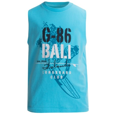 Cotton Jersey Muscle T-Shirt - Sleeveless (For Boys) in Blue