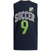 Cotton Jersey Muscle T-Shirt - Sleeveless (For Boys) in Navy Soccer - 2nds
