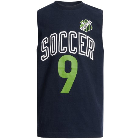 Cotton Jersey Muscle T-Shirt - Sleeveless (For Boys) in Navy Soccer