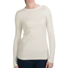 Cotton Jersey T-Shirt - Crew Neck, Long Sleeve (For Women) in Ivory - 2nds