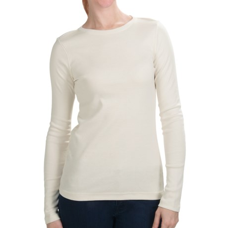 Cotton Jersey T-Shirt - Crew Neck, Long Sleeve (For Women) in Ivory