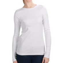 Cotton Jersey T-Shirt - Crew Neck, Long Sleeve (For Women) in White - 2nds