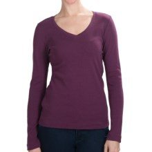 Cotton Jersey T-Shirt - V-Neck, Long Sleeve (For Women) in Berry Heather - 2nds
