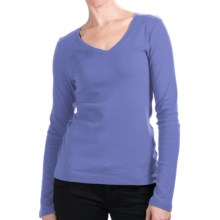 Cotton Jersey T-Shirt - V-Neck, Long Sleeve (For Women) in Blue - 2nds