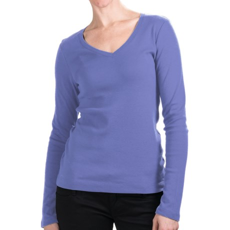 Cotton Jersey T-Shirt - V-Neck, Long Sleeve (For Women) in Blue