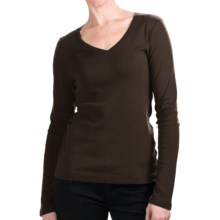 Cotton Jersey T-Shirt - V-Neck, Long Sleeve (For Women) in Chocolate - 2nds