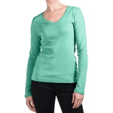 Cotton Jersey T-Shirt - V-Neck, Long Sleeve (For Women) in Mint - 2nds