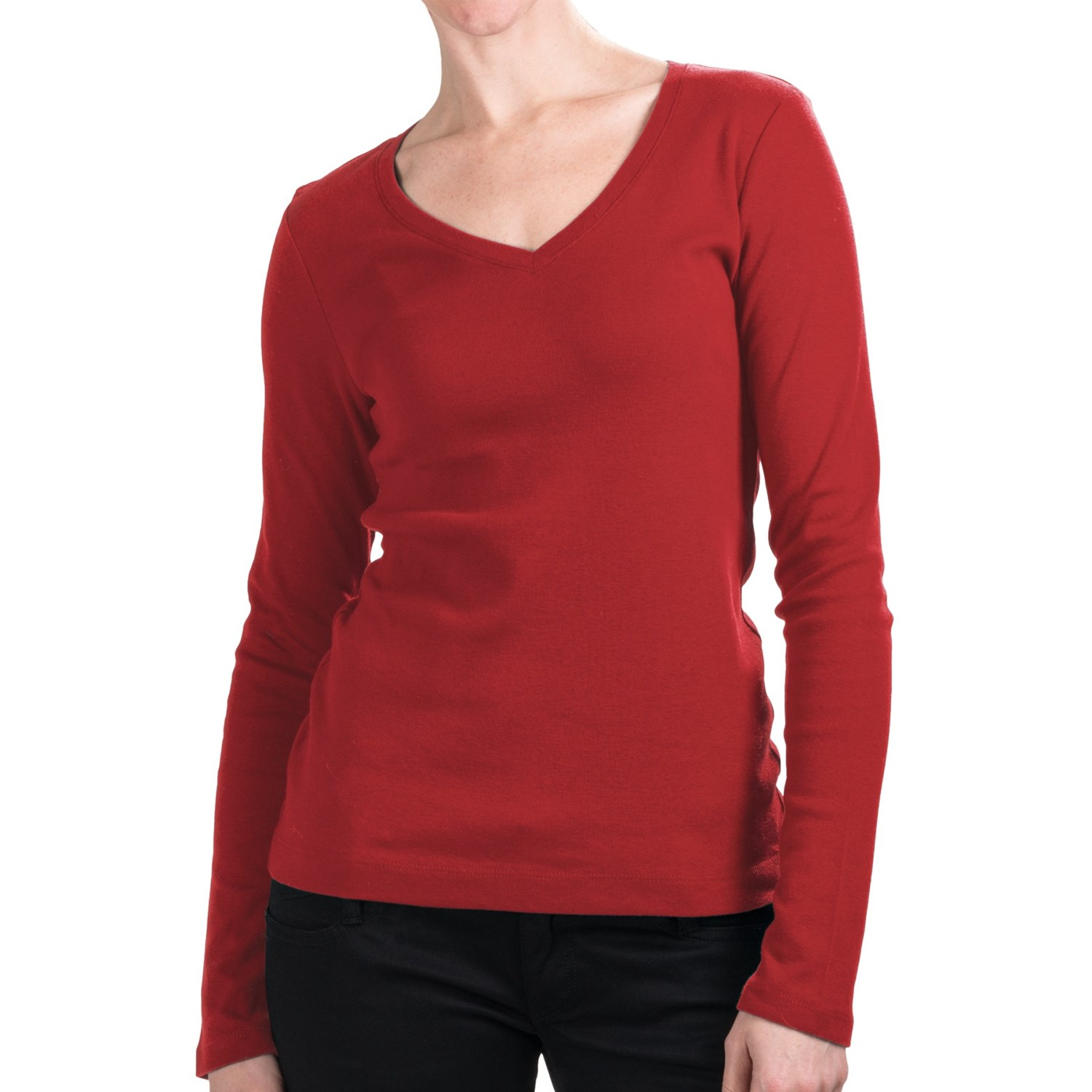 Cotton jersey t shirt v neck long sleeve for women for Cotton long sleeve v neck t shirts
