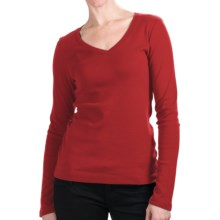 Cotton Jersey T-Shirt - V-Neck, Long Sleeve (For Women) in Red - 2nds