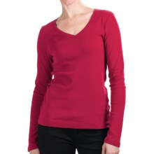Cotton Jersey T-Shirt - V-Neck, Long Sleeve (For Women) in Tomato - 2nds