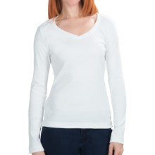 Cotton Jersey T-Shirt - V-Neck, Long Sleeve (For Women) in White - 2nds