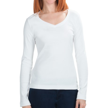 Cotton Jersey T-Shirt - V-Neck, Long Sleeve (For Women) in White