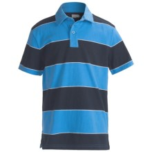 Cotton Jersey Wide Stripe Polo Shirt - Short Sleeve (For Boys) in Blue/Navy - 2nds