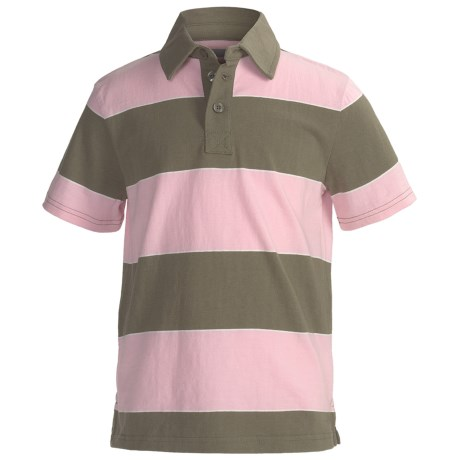 Cotton Jersey Wide Stripe Polo Shirt - Short Sleeve (For Boys) in Olive/Pink