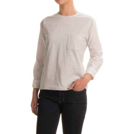 Cotton Knit and Woven Shirt - Crew Neck, Long Sleeve (For Women) in Ash/White - 2nds