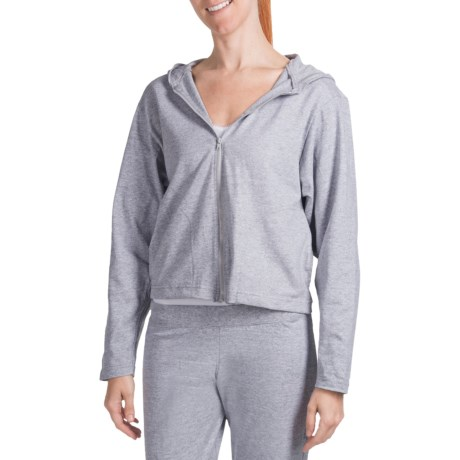 Cotton Knit Hooded Jacket - Long Sleeve (For Women) in Heather Grey