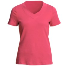 Cotton Knit Shirt - V-Neck, Short Sleeve (For Women) in Coral - 2nds