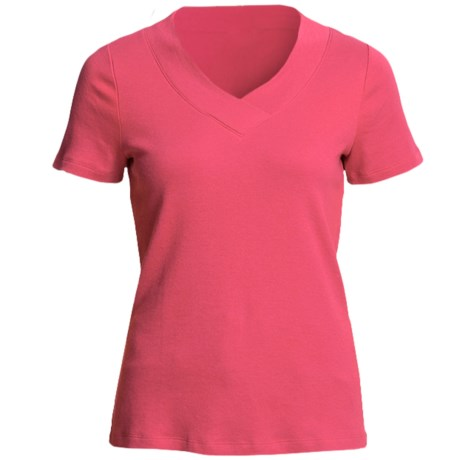 Cotton Knit Shirt - V-Neck, Short Sleeve (For Women) in Coral
