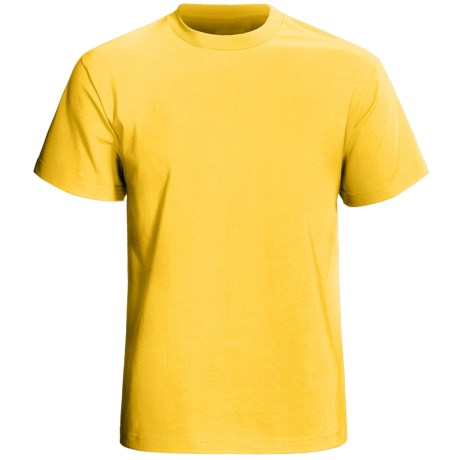 Cotton Knit T-Shirt - Short Sleeve (For Men) in Yellow