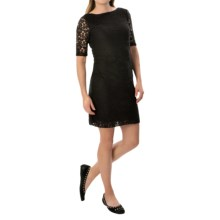 Cotton Lace Dress - Elbow Sleeve (For Women) in Black - 2nds