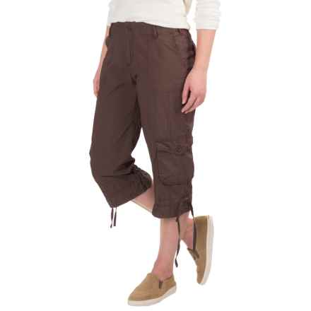 Cotton Lawn Cargo Pocket Capris (For Women) in Coffee - 2nds