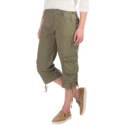 Cotton Lawn Cargo Pocket Capris (For Women) in Olive - 2nds
