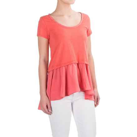 Cotton Layered-Look Shirt - Short Sleeve (For Women) in Coral - Closeouts