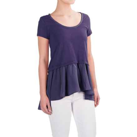 Cotton Layered-Look Shirt - Short Sleeve (For Women) in Purple - Closeouts