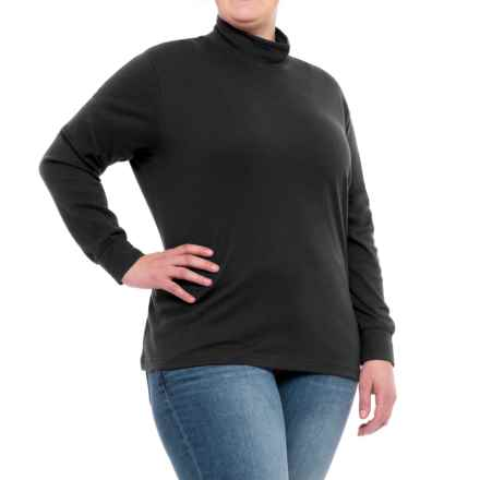 Cotton Mock Neck Shirt - Long Sleeve (For Plus Size Women) in Black - 2nds