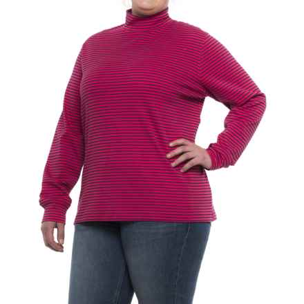 Cotton Mock Neck Shirt - Long Sleeve (For Plus Size Women) in Cardinal/Navy Stripe - 2nds
