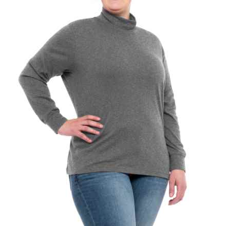 Cotton Mock Neck Shirt - Long Sleeve (For Plus Size Women) in Heather Grey - 2nds