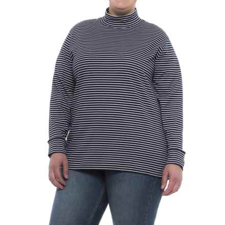 Cotton Mock Neck Shirt - Long Sleeve (For Plus Size Women) in Navy/White Stripe - 2nds