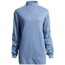 Cotton Mock Turtleneck - Long Sleeve (For Women) in Medium Blue - 2nds
