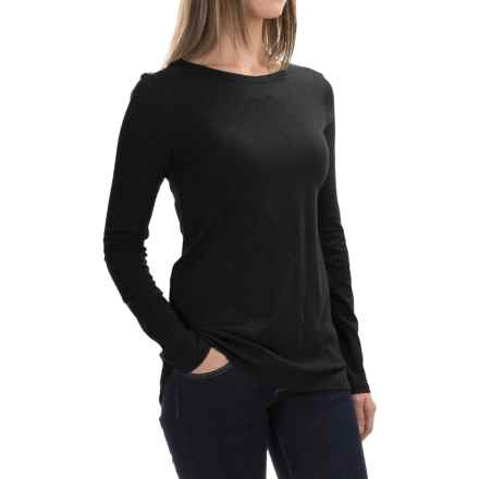 Cotton-Modal Shirt - Long Sleeve (For Women) in Black - 2nds