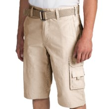 Cotton-Nylon Cargo Shorts (For Men) in Stone - 2nds