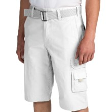 Cotton-Nylon Cargo Shorts (For Men) in White - 2nds