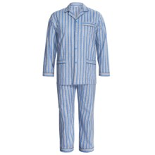 Cotton Pajamas - Long Sleeve (For Big Men) in Blue/Tan Patterned Stripe - 2nds