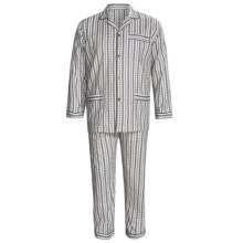 Cotton Pajamas - Long Sleeve (For Big Men) in Grey Patterned Stripe - 2nds