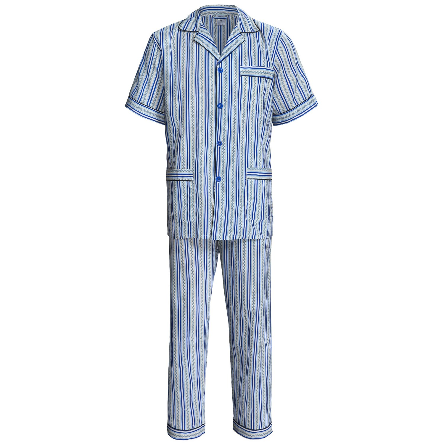 Cotton Pajamas - Short Sleeve (For Men) in Blue/Tan ...