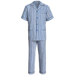 Cotton Pajamas - Short Sleeve (For Men) in Grey/Yellow Rock