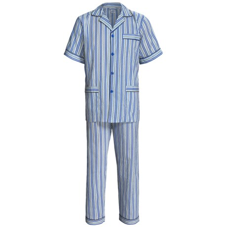 Cotton Pajamas - Short Sleeve (For Men) in Blue/Tan Patterned Stripe