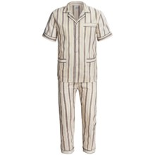 Cotton Pajamas - Short Sleeve (For Men) in Grey/Yellow Rock - 2nds