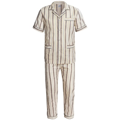 Cotton Pajamas - Short Sleeve (For Men) in Grey/Yellow Rock