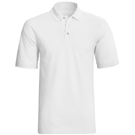 Cotton Pique Polo Shirt - Short Sleeve (For Men) in White